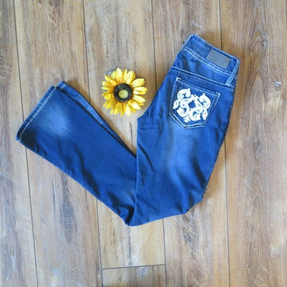Hydraulic Embellished boot cut Jeans Size 3/4